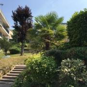 un bel immeuble contemporain avec un grand jardin