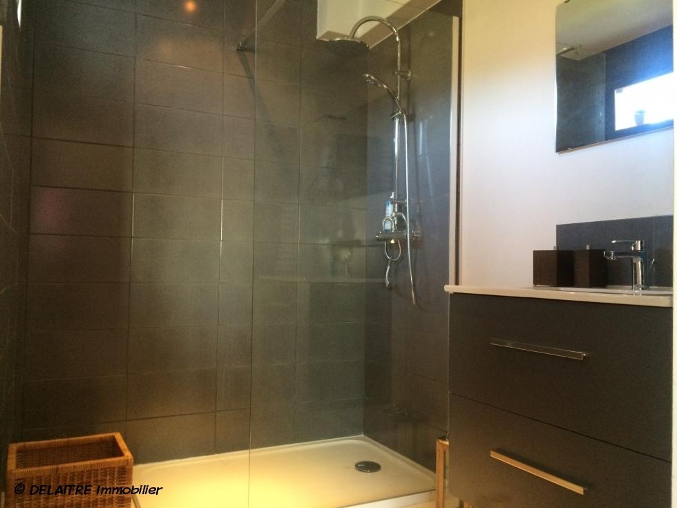 A vendre à Rouen saint gervais, cette maison indépendante d'architecte contemporaine de 200 m2 habitable avec quatre stationnements dont deux couverts .  elle offre une entrée,un wc avec lave mains ,une chambre avec salle de douches.